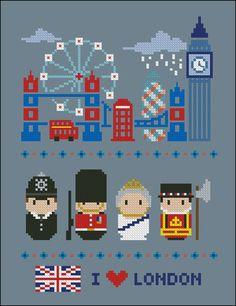 London icons (big version) - Mini people around the world - Cross Stitch Patterns - Products