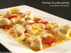 Pechuga de pollo guisada con pimientos del piquillo - MisThermorecetas