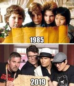 The goonies is one of my all time favorite movies, here's Chunk, Mikey, Mouth and Data in and . 80s Movies, Great Movies, Movie Tv, 1984 Movie, Movie Theater, Action Movies, Os Goonies, Karate Kid, Celebrities Then And Now