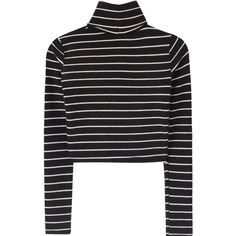 Striped Turtleneck Crop Top (€25) ❤ liked on Polyvore featuring tops, turtleneck top, stripe top, sexy long sleeve tops, turtleneck crop tops and turtle neck crop top