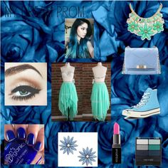 Blue Prom by paigekemp on Polyvore featuring Converse, Roger Vivier, R.J. Graziano, Kate Spade, Wet n Wild, Smashbox, contestentry and promstory