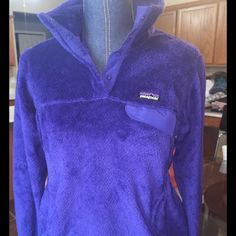 Patagonia re tool snap pullover sz m nwot Patagonia exclusive  beautiful color butterfly blue in between blue and purple (see pic 4) new without tags snapp t  button1/4 fleece pullover with exclusive trim and Patagonia Jackets & Coats