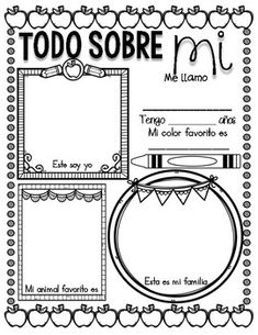 Todo sobre mi- ALL ABOUT ME (English and Spanish) Elementary Spanish, Spanish Classroom, Elementary Schools, All About Me Preschool, All About Me Activities, Introduction Activities, English Activities, Spanish Projects, Spanish Lessons