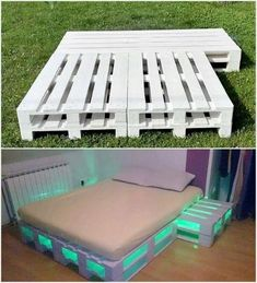 DIY Recycling-Holzpaletten-Projekte Probieren Sie Zuhause aus - Dekoration id.Thanks for this DIY Recycled Wooden Pallet Projects Try Out Home - Decoration Ideas Wooden Pallet Beds, Pallet Bed Frames, Diy Pallet Bed, Wooden Pallet Projects, Diy Bed Frame, Diy Pallet Furniture, Pallet Wood, Bed With Pallets, Pipe Furniture