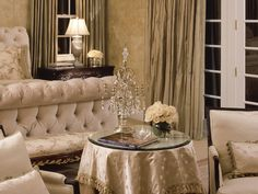 French - An ornate, fanciful and decorative style is characteristic of this look. Colors range from rich, sun-drenched Mediterranean hues to softer, muted shades. Often, one color or fabric is repeated throughout the space. It's characterized by rich details and extensive use of gold, bronze and gilt. Antique or heirloom furniture, layered dramatic window treatments and abundant fresh flowers fill out a French home.