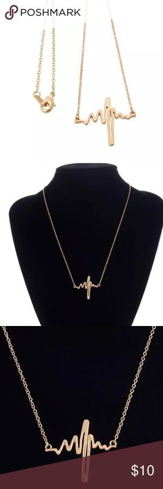"""NEW Heartbeat EKG lifeline nurse gold necklace Necklace length is 18"""" and pendant is 2.5x1.5"""" Jewelry Necklaces"""