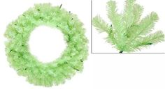 "36"""" Pre-Lit Chartreuse Green Wide Cut Artificial Christmas Wreath - Green Lights"