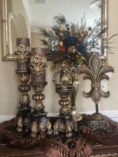 Pair 2 4 x 8 Brown Candles with Fleurs and BLING image 0 Brown Candles, Blue Candles, Candle Stand, Candle Holders, Antique Living Rooms, Tuscan Living Rooms, Tuscany Decor, World Decor, Tuscan Decorating