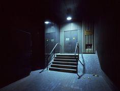 Dark City - Spotlit steps from fire exit, SE1