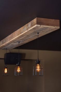 Reclaimed Barn Wood Siding Fixture with Caged Edison Bulbs for //Bar//Restaurant //Home - Rustic Lighting*