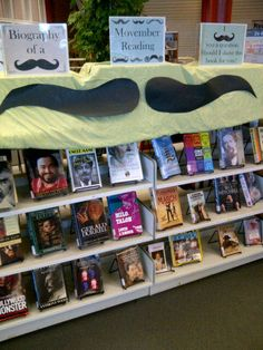 Great Movember Display from Frederiction Public Library (New Brunswick)