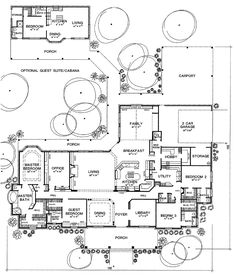 First Floor Plan of Traditional House Plan there isn't one thing that I don't like in this house! I love the cabana house and/or in-law suite. House Plans One Story, Dream House Plans, House Floor Plans, Story House, The Plan, How To Plan, Houses Architecture, Architecture Unique, Dream Home Design