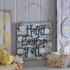 Charm your Easter guests with our Happy Easter Y'all Wall Plaque. It's barnwood design and pastel blue background make it the perfect piece to add to your Easter decor!