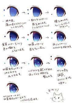 63 New Ideas Drawing Tutorial Anime Eyes Eye Drawing Tutorials, Digital Painting Tutorials, Digital Art Tutorial, Art Tutorials, Anime Tutorial, Eye Tutorial, Drawing Skills, Drawing Reference, Anatomy Reference