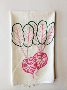 Chioggia Beet Tea Towel, Screen Printed Flour Sack Towel