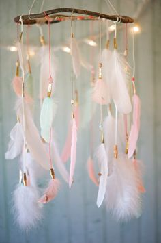 Dreamcatcher Mobile Corail rose et menthe par DreamkeepersLLC