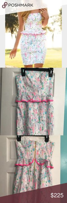 Lilly Pulitzer Pop Lowe Dress Holy Grail 🎈 Adorable Lilly Pulitzer pop Lowe dress can be worn as a skirt too as pictured. Very hard to find print no longer made, holy grail. Super cute for birthdays, graduations, or any other celebrations. Smoke free home. I am the second owner and unfortunately it is too small, slight self tanner stain as pictured. Size 00, no trades or pp. cross posted on m and e bay can negotiate more on those platforms Lilly Pulitzer Dresses