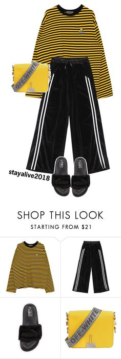 """""""bee"""" by stayalive2018 ❤ liked on Polyvore featuring Puma, Off-White, yellow, black, puma, fenty and rihannafenty"""