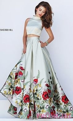 High Neck Two Piece Sherri Hill Prom Dress with Floral Print Skirt at PromGirl.com