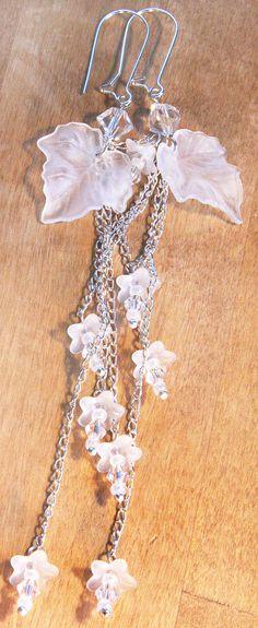 Nature Inspired Snow White Wedding Earrings. Tiny by KapKaDesign, $36.21