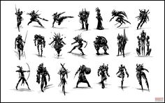 Character ideation done as a demo for my concept art class - quick dynamic silhouette development and rough sketching based on three chosen . Character Concept, Character Art, Concept Art, Character Sheet, Character Creation, Thumbnail Sketches, Visual Development, Character Design References, Creature Design
