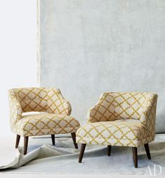 DwellStudio Mallory chairs in Casablanca Geo fabric (as seen in Architectural Digest)