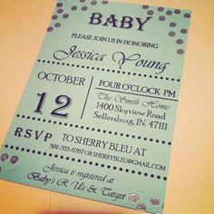 Just love this baby shower invite!  For more information or to place an order email us at simplysoutherneventsky@gmail.com