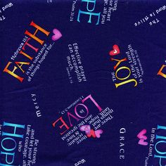 Positive Faith Based Saying Timeless Treasures Cotton Navy, By the Yard Timeless Treasures Fabric, Yard, Positivity, Faith, Sayings, Cotton, Etsy, Products, Patio
