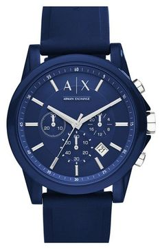 Free shipping and returns on AX Armani Exchange Chronograph Silicone Strap Watch, 44mm at Nordstrom.com. A monochromatic blue watch with smooth silicone straps offers chronograph functionality for sporty, timekeeping individuals who like their style with a dose of pop.