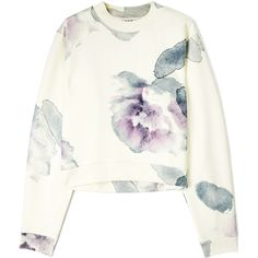 Acne Flower Print Cropped Sweatshirt (£170) ❤ liked on Polyvore featuring tops, sweaters, shirts, jumpers, lilac crop top, long sleeve crop top, floral print crop top, ribbed crop top and floral shirt