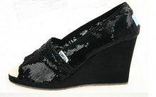 Toms Wedges Black Sequins Womens