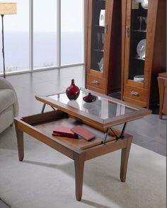 Mesa de centro con tablero abatible - Mesa de centro baja con tablero abatible
