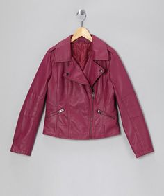 Take a look at this Raspberry Faux Leather Moto Jacket by CoffeeShop Kids on #zulily today!