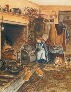 Tasha's Hearth Print ~ A Thanksgiving scene of children tending the turkey as it roasts in the tin kitchen in Tasha Tudor's 'Winter Kitchen'. The most difficult part of this operation is keeping the corgyn away from the delicious pan drippings. In real life, Tasha set a fireplace screen around the tin kitchen, calling it a 'corgi foil'. ©1993
