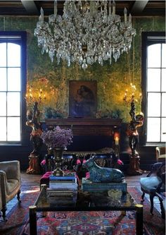 A beautifully done jewel tone living room.