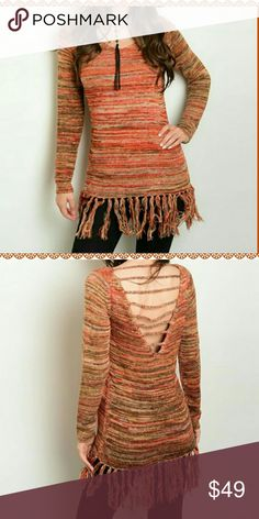 🎉 Perfectly Fall Fringe Bottom Sweater🎉 Fantastic fringe bottom sweater! Hues of orange, mustard, and brown in a marled fiber. Multiple sizes available!  Beautifully made and super soft! A Fall must have! Boutique Sweaters Crew & Scoop Necks