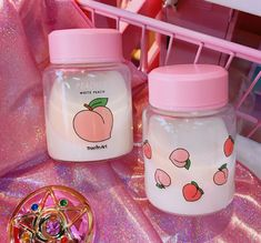 FREE+SHIPPING!!!  Material:+Glass  Diameter:+8+cm  Height:+11+cm  Weight:+400+g  Capacity:+400+ml Cute Water Bottles, Aesthetic Food, Peach Aesthetic, Aesthetic Pictures, Pastel Pink, Pastel Colors, Pastel Goth, Colours, Spotify Apple