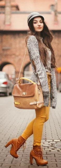 grey sweater dress, yellow pants,mid calf boots and handbag