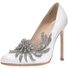 Manolo Blahnik Swan Embellished Satin Pump, White (5.290 BRL) ❤ liked on Polyvore featuring shoes, pumps, heels, sapatos, high heels, manolo blahnik shoes, white satin shoes, white heel pumps, embellished pumps and satin pumps