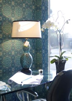 This Tile print wallpaper - Piccadilly by Cole & Son from their Albemarle collection. Yum!