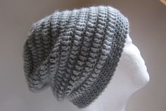 Crocheted, two-tone-grey slouchy beanie.