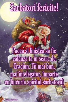 Pacea şi liniştea să fie călăuza ta în seara de Crăciun. Fii mai bun, mai înţelegător, împarte cu bucurie spiritul sărbătorii! Christmas Greetings, Merry Christmas, Diy And Crafts, Projects To Try, Happy Birthday, Santa, Holidays, December, Animation