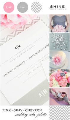 Pink and gray wedding inspiration with chevron details #pink #gray #chevron