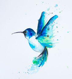 "Original Painting Watercolor Blue Hummingbird 11"" x 14"""