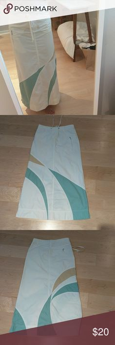 Anthroplogie maxi skirt Drawstring + snap front waist. Pockets for hand as well as zip pockets on front and back. True to size. Some very slight signs of wear nothing in particular to callout. Material is cotton polymide blend make for a smooth exterior perfect for the pool or just summer nights in general. Skirts Maxi