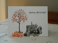 dad's harvest tractor by rokale - Cards and Paper Crafts at Splitcoaststampers Autumn Cards, Making Greeting Cards, Farm Theme, Birthday Cards For Men, Fathers Day Cards, Thanksgiving Cards, Penny Black, Masculine Cards, Cute Cards