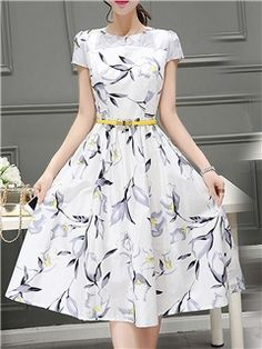 Ericdress Plant Print Expansion Round Neck Casual Dress