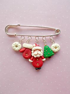 Christmas pin created from polymer clay without molds or forms. A perfect gift for winter holidays. The lenght of the metallic pin is 6 cm. The charms measure between 1 and 1.8 cm. ❀ Price is for one pin. ❀ I ship the orders very quickly, in 1 to 3 days after I receive your order. I ship