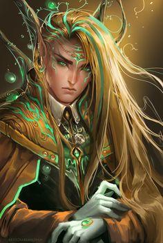 God Of Evanescence by sakimichan.deviantart.com on @deviantART Fantasy Male, Fantasy World, Magical Creatures, Fantasy Creatures, Character Portraits, Character Art, Sakimichan Art, Male Elf, Blood Elf