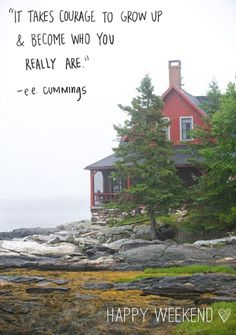 red house - maybe our home in Maine one day? Cabins And Cottages, Beach Cottages, Beautiful Homes, Beautiful Places, A Well Traveled Woman, House By The Sea, Am Meer, My New Room, Coastal Living